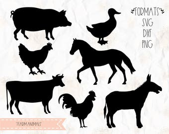 Farm animals svg, png, dxf for cricut, silhouette studio, cut file, cutting machines, vinyl decal, stencil template, t shirt design