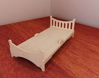 Large Bed for Barbie. Barbie-size furniture. Barbie Doll Bed. 1:6 scale vector model for CNC router and laser cutting. Plywood 3/4/5/6mm.
