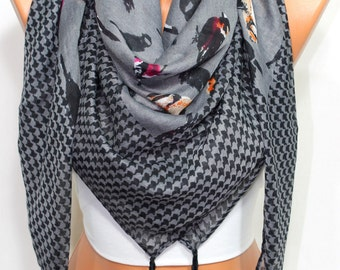Bird Print Black Gray Houndstooth Square Tassel Scarf Women's Fashion Accessories Holiday Gift Ideas For Her For Him