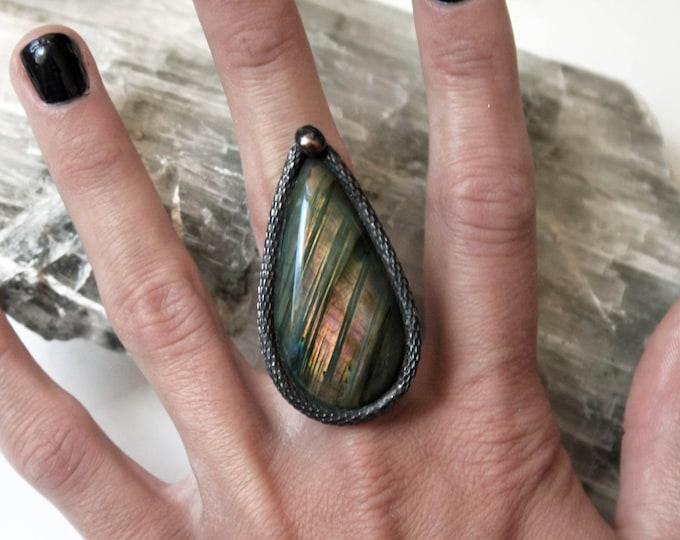 Large Pink Rainbow Labradorite Ring // Labradorite Adjustable Ring