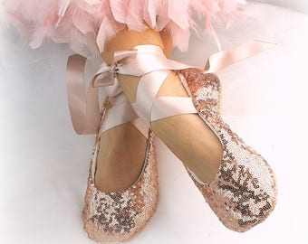Elegant Ballet Flats Shoes Rose Gold Sequin Bridal Slippers Elegant