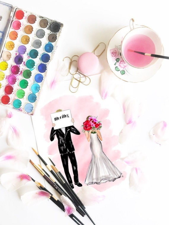 wedding print, bride and groom, custom wedding gift, wedding painting, wedding warercolor, tie the knot, bride print, wedding art, newlyweds