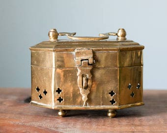 Vintage Geometric Brass Cricket Box Octagon Trinket Jewelry Box