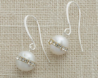 Pearl and Rhinestone Silver Earring French Hooks Handcrafted 6H