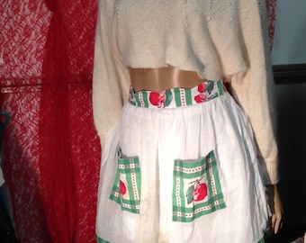 Apron Hostess Vintage Red Cherries