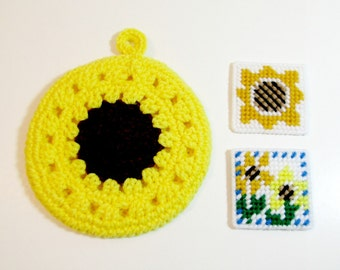 Sunflower Kitchen Combo - Sunflower Potholder and Two Sunflower Refrigerator Magnets - Sunny Kitchen Accessories Ready-to-Ship
