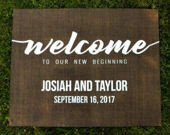 """Personalized Wooden """"Welcome to Our New Beginning"""" Sign"""