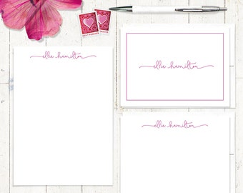 complete personalized stationery set - PERFECTLY CHARMING  - personalized stationary set - note cards - notepad - girl stationery