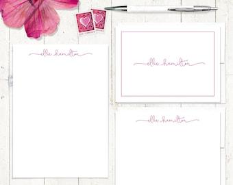 komplette personalisiertes Briefpapier set - perfekt charmant - personalisierte stationäre Set - Grußkarten - Notepad - Mädchen Briefpapier
