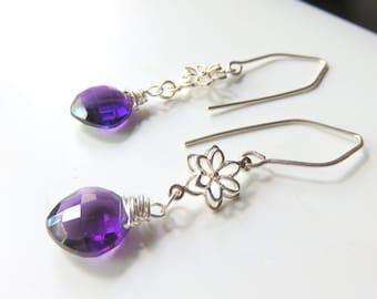 Purple Quartz Earrings. Wire Wrapped Briolettes, Amethyst Quartz, Sterling Silver. Cushion Cut Gemstones, February Birthstone Gift for Her