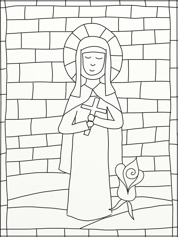 items similar to instant download of a st therese stained glass coloring page on etsy