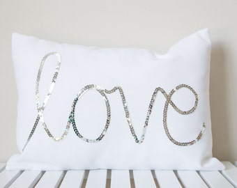 Silver Sequined Love Cushion