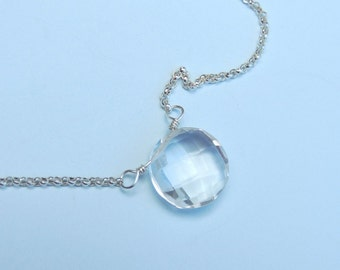 Rock Crystal Quartz Necklace Sterling Silver Simple Clear Stone Choker