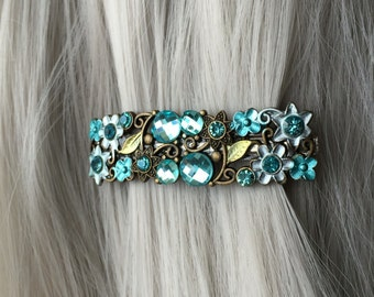 Gift-For-Her Hair Accessories for Women Clip  - Jeweled Hair Clip Thin Hair Clip - Blue Hair Clip - Jeweled Hair Barrette  - Gift For Women