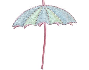 ID 3362 Beach Umbrella Patch Summer Drink Cover Embroidered Iron On Applique