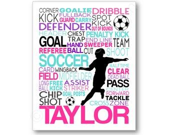 Affiche de Soccer de la jeune fille, les filles football typographie, cadeau pour les joueurs de football, football cadeau, cadeau de l'équipe de football, foot Print, Art de joueur de football