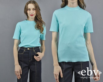 Mock Neck Top Aqua Top Ribbed Top 70s Top 1970s Top Ribbed Knit Mock Neck Knit Pool Water Blue Turquoise Top Summer Top Short Sleeve Top S