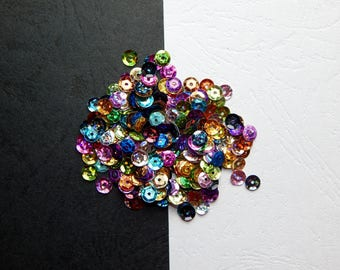 Set of 6 mm multicolored sequins glitter