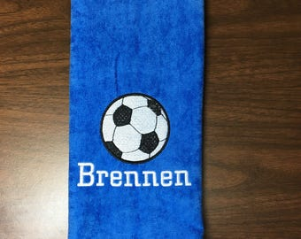 Personalized soccer towel, fast turn around, embroidered towel, name and ball, any towel color, message for team orders, PLEASE!