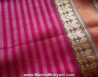 Pink Block Print Saree Fabric, Sari Fabric, Paisley Print Fabric, Indian Cotton Fabric, Indian Block Print Fabric, Pink Cotton Sari Fabric