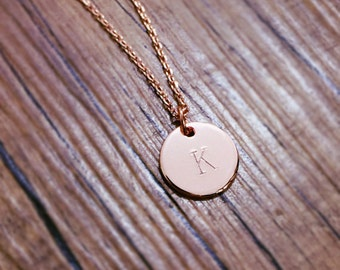 Personalized necklace,initial coin necklace,friendship necklace, rosegold necklace, pinkgold necklace