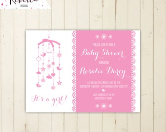 baby shower brunch invitation pink baby shower Invitation pink and grey invite baby shower tea party mobile invitation its a girl printable