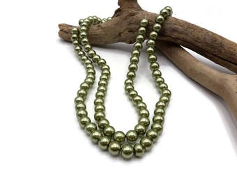 100 beads khaki green glass 8 mm - 158