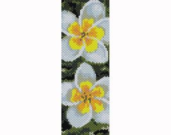 Frangipani Flower Peyote Bead Pattern, Bracelet Pattern, Bookmark Pattern, Seed Beading Pattern Delica Size 11 Beads - PDF Instant Download
