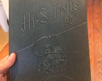 1951 Pottsville Highschool Yearbook . Vintage pottsville yearbook . Antique yearbook . Pottsville Pennsylvania
