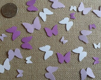 Hand punched butterfly confetti- 150 white and purple/lavender butterflies- butterfly theme birthday/ baby shower/spring