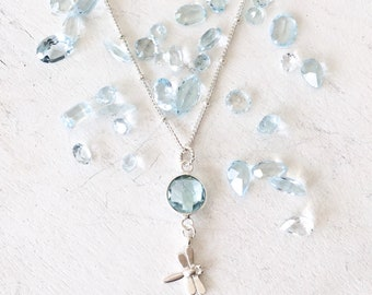 Tiny Dragonfly Necklace - Silver Dragonfly - Blue Dragonfly Necklace -