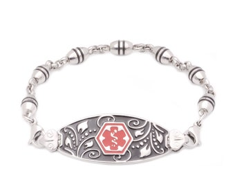Medical ID Stainless Beaded Strand Filigree Bracelet - 6 Pre-Engraved Conditions