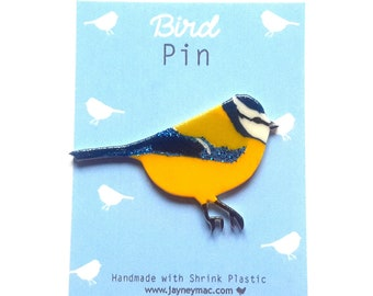 Bluetit Bird Shrink Plastic Pin