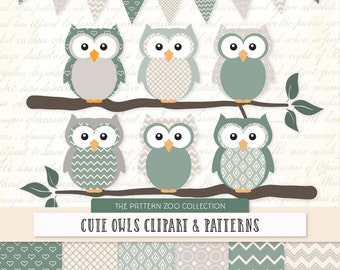 Patterned Hemlock Owls Clipart and Digital Papers - Hemlock Owl Clipart, Owl Vectors, Baby Owls, Cute Owls