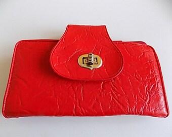 Vintage Red Textured Vinyl Wallet Money Holder Organizer Coing Purse