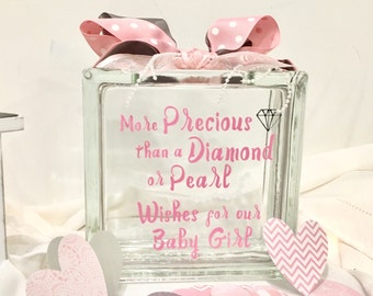 Baby Shower Guest Book Wish Block / Wish Jar - Glass Block with Light Pink and Lavender - Diamonds and Pearls - Baby Shower