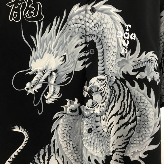 Dogtown Summer Dragon Hawaiian XLarge X Shirt Size Polo Dog White Town Rayon Shirt Hawaiian Skateboard tiger Vintage rPfqvrH