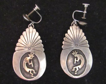 Vintage Native Southwest Style Kokopelli Stelring Silver 14k Screw Back Earrings