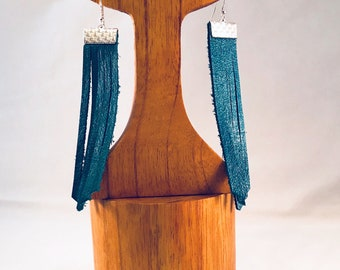 Handmade Earrings, Deep Sky Blue Leather Fringe Dusters, with Silver Accent