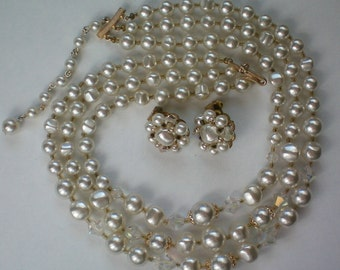 Vintage Mid-Century Simulated Pearl Triple Strand Necklace with Earrngs - 4202