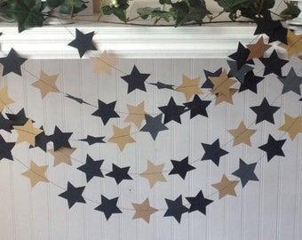 Black and Gold Star garland, Birthday Party Decoration, Paper Garland,  Wedding Garland. 12' long star garland.