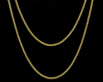 Victorian Gold Necklace Fancy Link Guard Chain Solid Gold 61 inches Long Muff Chain Belcher Links j760 gift for her or for him