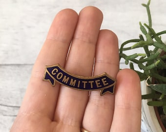 Committee badge vintage enamel badge school badge enamel brooch lapel pin blue brooches gifts for teacher teaching gift volunteer group gift