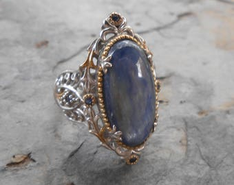 Michael Valitutti Sterling Silver 18k Gold Kyanite Gemstone Ring
