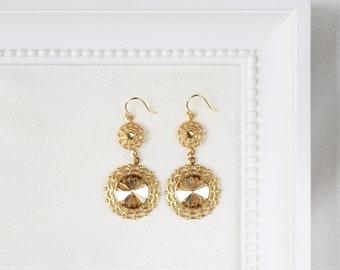 Gold bridal earings, Old Hollywood glamour earrings, vintage gold wedding earring, crystal dangle earrings, costume jewellery. SOPHIA