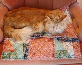 Rust Cat Blanket, Cat Blanket, Small Dog Blanket, Dog Bed, Cat Bed, Pet Bedding, Handmade Pet Mat, Catnip Mat, Designer Pet Bedding, Catnip