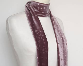 Purple Lavender Stars Velvet Scarf, Skinny Scarf Velvet, Scarf Headband,  Women's Skinny Scarf, Necktie, Neck Scarf, Headband, Turban