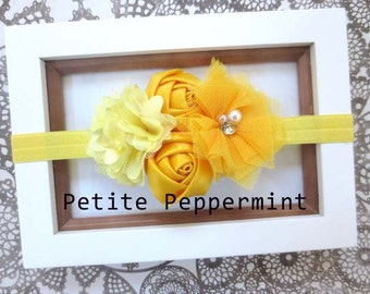 Baby headband, newborn headband, infant headband, toddler headband - Yellow Flower Baby Head Band