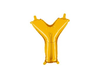 Letter Y Gold Foil (Mylar) Balloons - 14 Inch Air Fill Only - Hanging Decorations Party Supplies