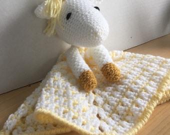 Crochet Yellow Unicorn Lovey Travel Security Blanket Snuggle Wubby Amigurumi Toy